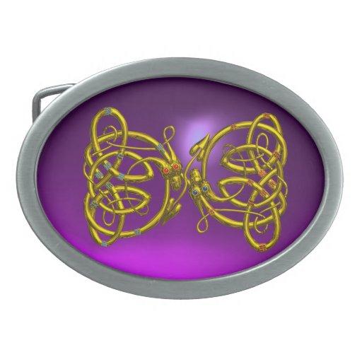 DRAGONLOVE , purple amethyst,gold Belt Buckle