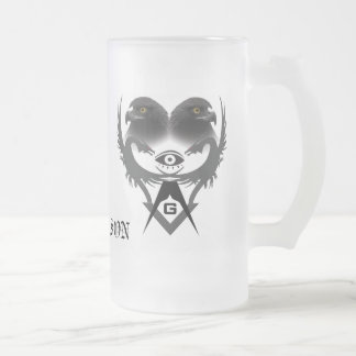 Dragons and Eagles, abstract S&C, FREEMASON Frosted Glass Beer Mug