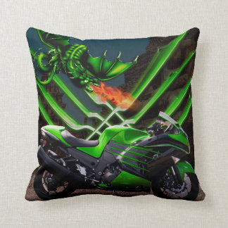 Dragon's and Fast motorcycle's Throw Pillow