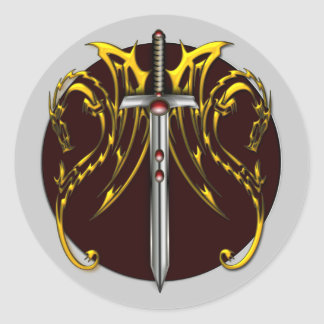 DRAGONS AND SWORD ROUND STICKER