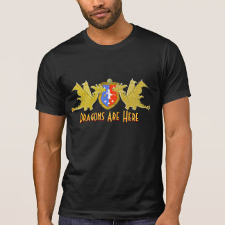 Dragons Are Here Cartoon Dragons Crest T-Shirt