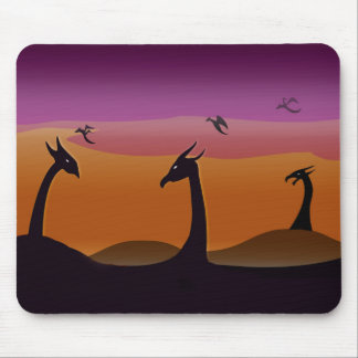 Dragons at Sunset Mouse Pad