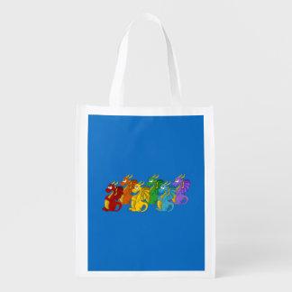 Dragons cartoon reusable grocery bag