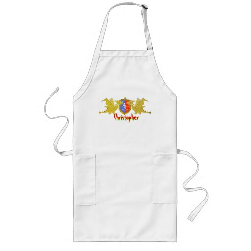 Dragons Crest with customizable Name Christopher Aprons