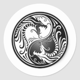 dragons of yin yang classic round sticker