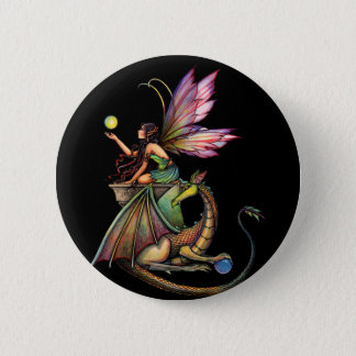 Dragon's Orbs Fairy and Dragon by Molly Harrison 2 Inch Round Button