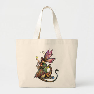 Dragon's Orbs Fairy and Dragon by Molly Harrison Jumbo Tote Bag