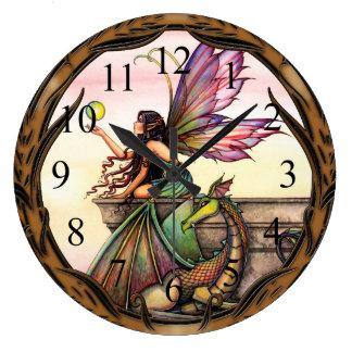 Dragon's Orbs Fairy and Dragon Wall Clock