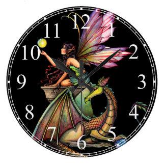 Dragon's Orbs Gothic Fairy Dragon Wall Clock