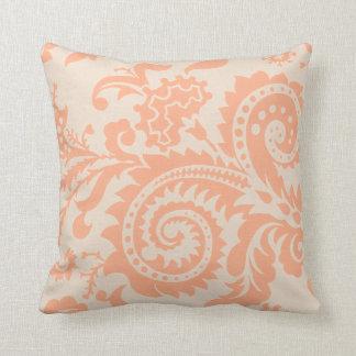 Dragontail Paisley | peach Throw Pillow