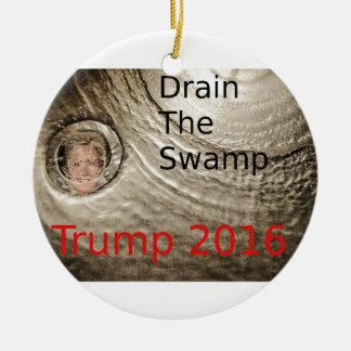 Drain The Swamp Trump-Clinton Political Design Round Ceramic Ornament