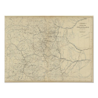 Drainage Map of Colorado Poster