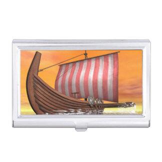 Drakkar or viking ship - 3D render Business Card Holder