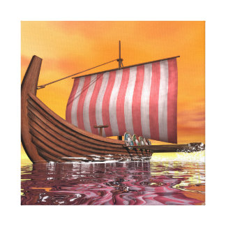 Drakkar or viking ship - 3D render Canvas Print