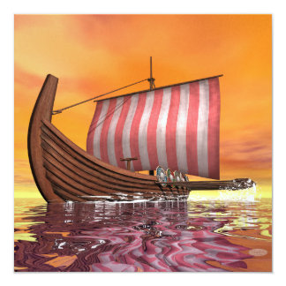 Drakkar or viking ship - 3D render Card