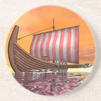 Drakkar or viking ship - 3D render Coaster