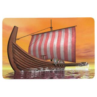 Drakkar or viking ship - 3D render Floor Mat