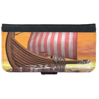 Drakkar or viking ship - 3D render iPhone 6 Wallet Case