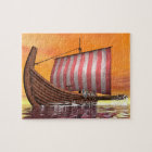 Drakkar or viking ship - 3D render Jigsaw Puzzle