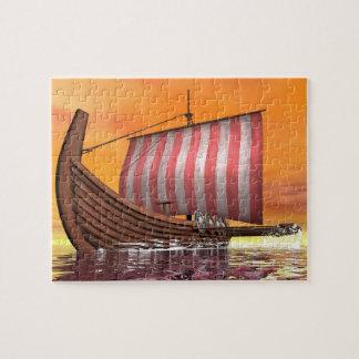Drakkar or viking ship - 3D render Jigsaw Puzzle