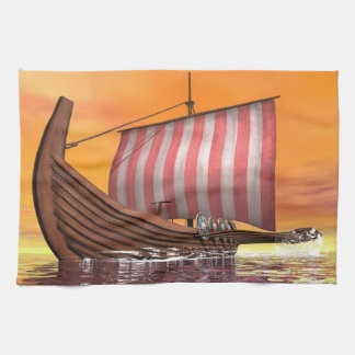 Drakkar or viking ship - 3D render Kitchen Towel