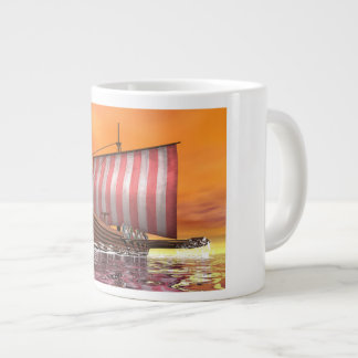 Drakkar or viking ship - 3D render Large Coffee Mug