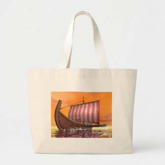 Drakkar or viking ship - 3D render Large Tote Bag