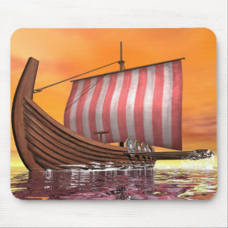 Drakkar or viking ship - 3D render Mouse Pad