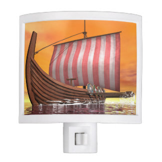 Drakkar or viking ship - 3D render Nite Light