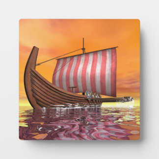 Drakkar or viking ship - 3D render Plaque