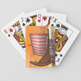 Drakkar or viking ship - 3D render Playing Cards