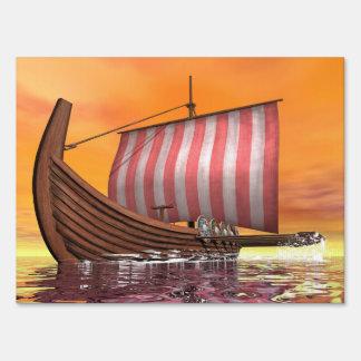 Drakkar or viking ship - 3D render Sign