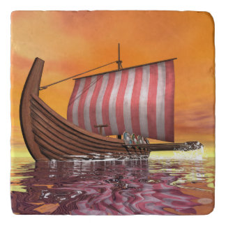 Drakkar or viking ship - 3D render Trivet