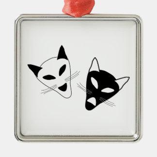 Drama Cat Masks Silver-Colored Square Ornament