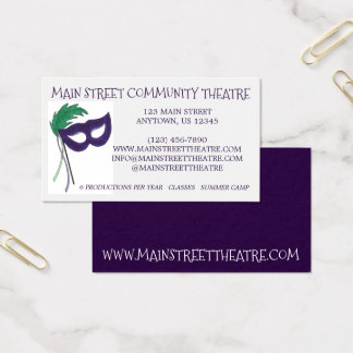 Drama Club Mask Community Theatre Theater Arts Business Card