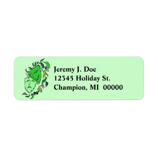 Drama Comedy Tragedy Masks Return address Labels