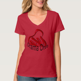 Drama Diva Theatre Mask Ladies Red T-shirt