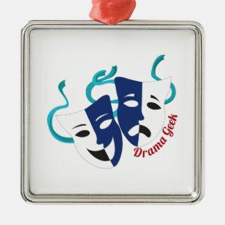 Drama Geek Silver-Colored Square Ornament