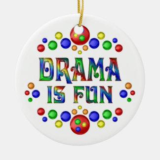 Drama is Fun Round Ceramic Ornament