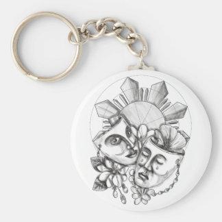 Drama Mask Hibiscus Sampaguita Flower Philippine S Basic Round Button Keychain