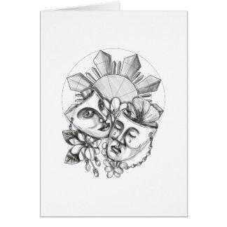 Drama Mask Hibiscus Sampaguita Flower Philippine S Card