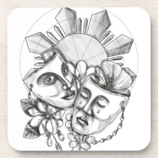 Drama Mask Hibiscus Sampaguita Flower Philippine S Coaster