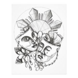 Drama Mask Hibiscus Sampaguita Flower Philippine S Letterhead