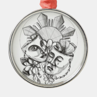 Drama Mask Hibiscus Sampaguita Flower Philippine S Metal Ornament