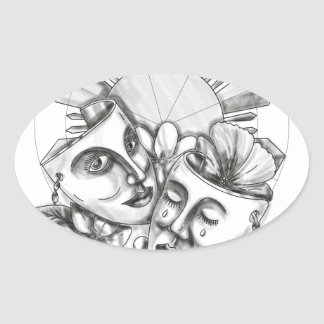 Drama Mask Hibiscus Sampaguita Flower Philippine S Oval Sticker