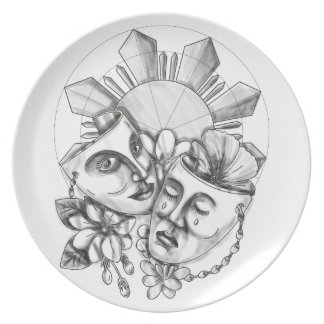 Drama Mask Hibiscus Sampaguita Flower Philippine S Party Plate