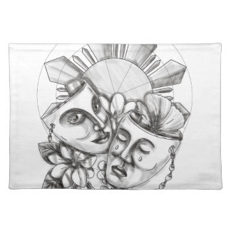 Drama Mask Hibiscus Sampaguita Flower Philippine S Placemat