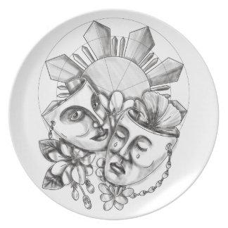 Drama Mask Hibiscus Sampaguita Flower Philippine S Plate