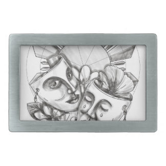 Drama Mask Hibiscus Sampaguita Flower Philippine S Rectangular Belt Buckles