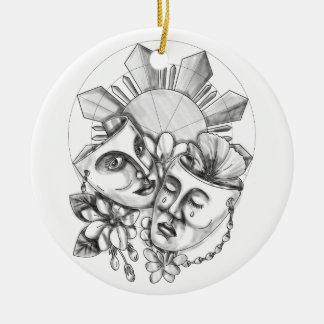 Drama Mask Hibiscus Sampaguita Flower Philippine S Round Ceramic Ornament